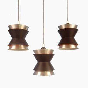 Small Trava Pendant Lamps by Carl Thore for Granhaga Metallindustri, Sweden, 1960s, Set of 3