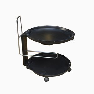 Round 2-Tier Serving Trolley in Black Lacquered Wood with Wheels, 1980s