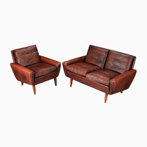 Mid-Century Danish 2-Seater Sofa & Lounge Chair by Georg Thams, 1960s, Set of 2