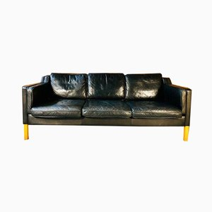 Mid-Century Danish 3-Seater Sofa in Black Leather from Stouby