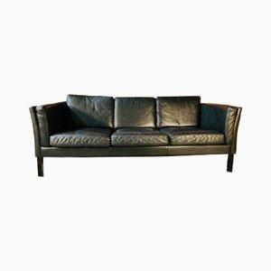 Mid-Century Danish 3-Seater Black Leather Sofa from Mogens Hansen