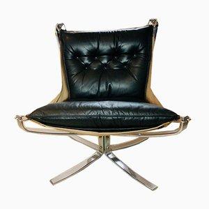 Vintage Falcon Chair aus Chrom & Leder mit niedriger Rückenlehne von Sigurd Resell
