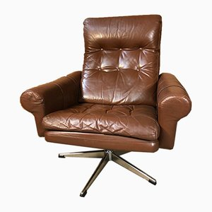 Mid-Century Danish Lounge Chair in Cognac Leather, 1970s