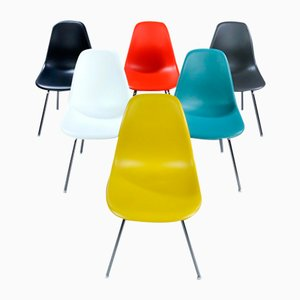 Mid-Century Multicoloured DSX Shell Chairs by Charles Eames, Set of 6