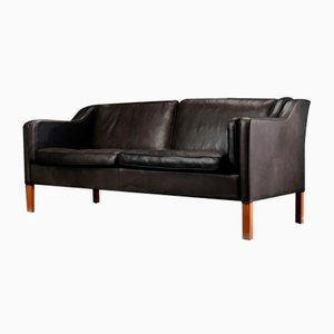 Mid-Century Danish 2.5 Seater Black Leather Sofa from Stouby