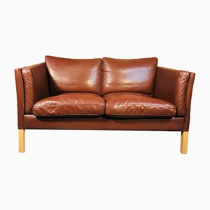 Mid-Century Danish 2-Seater Sofa in Cognac Leather from Stouby