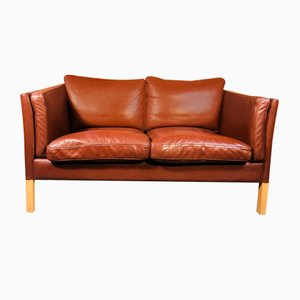 Mid-Century Danish 3-Seater Sofa in Cognac Leather from Stouby
