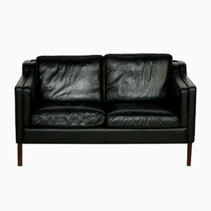 Mid-Century Danish 2-Seater Sofa in Black Leather from Stouby