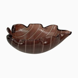 Mid-Century Blown Murano Glass Leaf Bowl by Tyra Lundgren for Venini