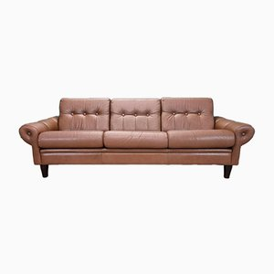 Mid-Century Danish Brown Leather 3-Seater Sofa, 1960s or 1970s