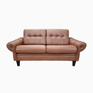 Mid-Century Danish Brown Leather 2-Seater Sofa, 1960s or 1970s