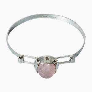 Silver and Rose Quartz Bracelet by Martti Viikinniemi