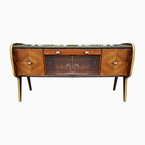 Sideboard with Beveled Glass & Sliding Doors by Vittorio Dassi, Italy, 1950s