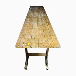 Long Brocante Table on Trestles, 1920s