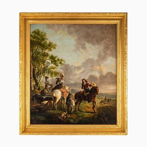 Halt of Hunters, Oil on Canvas