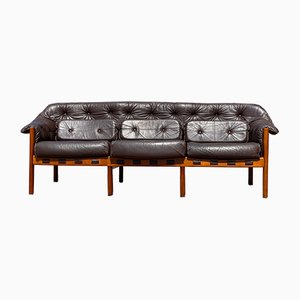 Mid-Century Patinated Brown Leather Sofa by Arne Norell, Sweden, 1960s