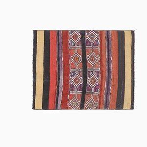 Small Vintage Turkish Handmade Oushak Kilim Rug in Red Wool, Anatolia