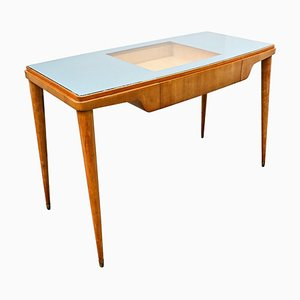 Mid-Century Wood and Glass Desk, Italy, 1950s
