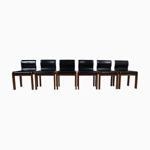 Mid-Century Leather and Plywood Dining Chairs by Tobia & Afra Scarpa, Italy, 1966, Set of 6