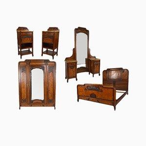Art Nouveau Bedroom Set in Carved Walnut and Burl, Set of 5