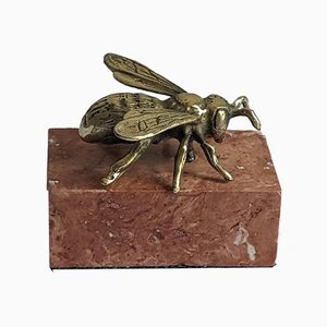 Alabaster Style Brass Bee on Scagliola Base