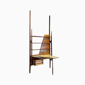 Mid-Century Italian Solid Wood Wall Bookcase with Writing Desk, 1950s