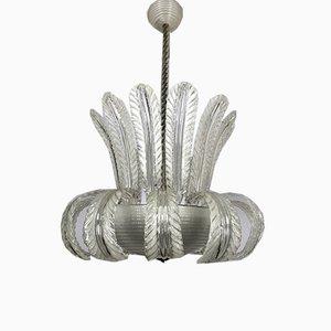 Art Deco Pulegoso Murano Glass Chandelier from Barovier & Toso, 1940s