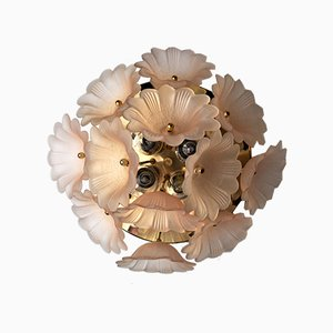 Murano Glass Flower Ceiling Lamp from Mazzega, Italy, 1970s