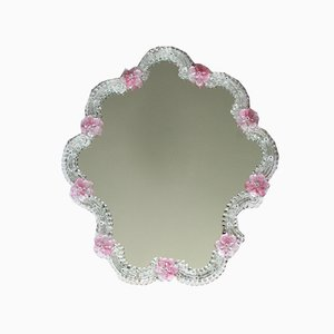 Mid-Century Murano Glass Rosellina Wall Mirror with Pink Roses, Italy, 1950s