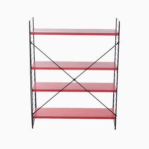 Standing Bookshelf in Red with Black Uprights from Tomado