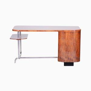Art Deco H-180 Writing Desk in Walnut & Chrome by Jindrich Halabala for UP Závody, 1930s
