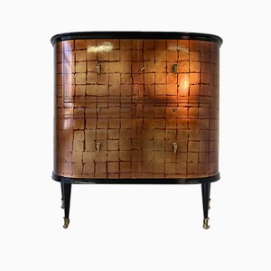 Red Lacquer and Gold Leaf Bar Cabinet with Brass Parts, 1950s