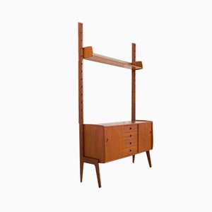 Ergo Wall Unit in Teak with Suspended Sideboard and Shelf by J. Texmon for Blindheim Møbelfabrikk, 1960s