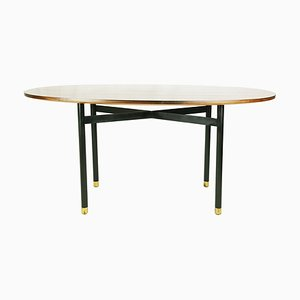 Oval Dining Table with Wooden Top, Brass Feet & Black Legs in the Style of Gustavo and Vito Latis, 1950s