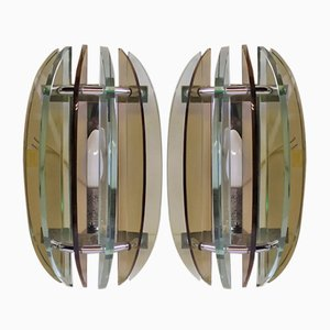 Glass Sconces from Veca, Florence, 1960s, Set of 2