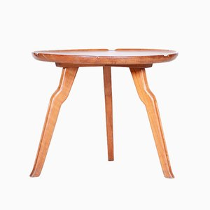 Small Round Mid-Century Czech Table in Cherry, 1940s
