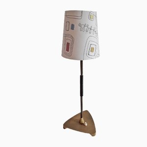 Vintage Table Lamp with Vinyl-Covered Brass Frame and Patterned Fabric Shade, 1960s