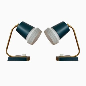 Mid-Century Blue Table Lamps, Set of 2