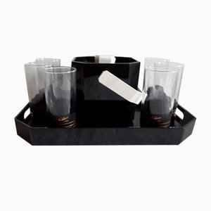 Noblesse Picnic Set of Tray, Black Plastic Ice Cube Trays & Glasses from Rastal, 1970s, Set of 8