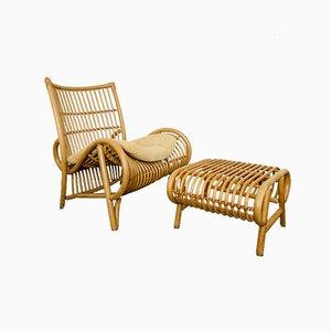 Bamboo Lounge Chair and Ottoman Set, 1970s