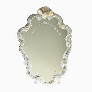 Large Vintage Murano Glass Crisantemo Wall Mirror, Italy, 1940s