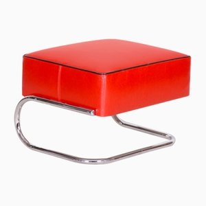 Modernist Tubular Stool in Red Leather & Chrome-Plated Steel by Slezák, 1930s