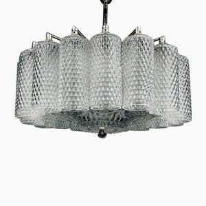 Vintage Glass Chandelier, Italy, 1960s