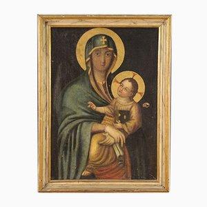 Antique Italian Religious Painting, Virgin with Child, 18th-Century