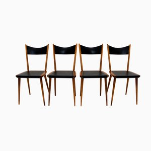 Beech and Skai Dining Chairs, 1950s, Set of 4