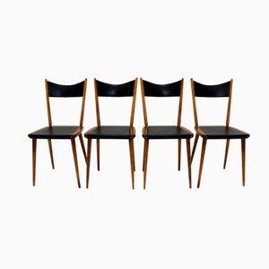 Esszimmerstühle aus Buchenholz & Skai, 4er Set, 1950er