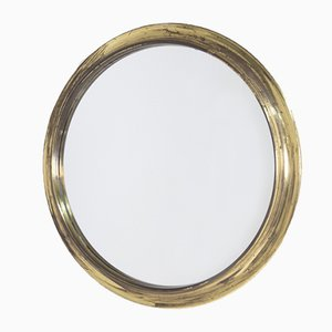 Italian Round Mirror in Brass by Augusto Savini
