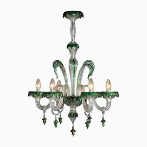 Chandelier in Murano Glass with Green Decorations