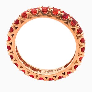 2.11K Brilliant Cut Natural Red Ruby & 18K Gold Eternity Band Ring from Berca