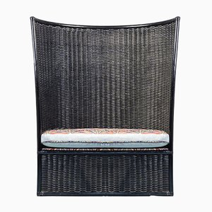 Vintage Wood & Fabric Armchair from Roberti Rattan, 1970s